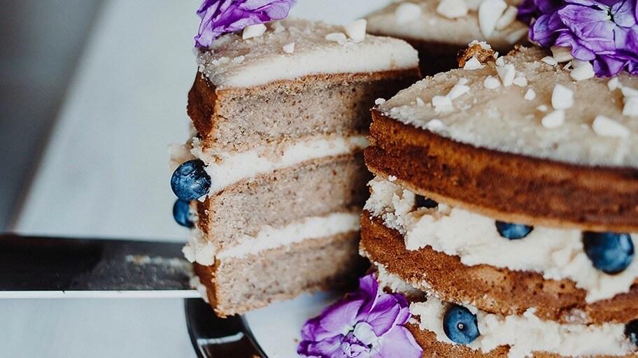 Three layer marzipan cake