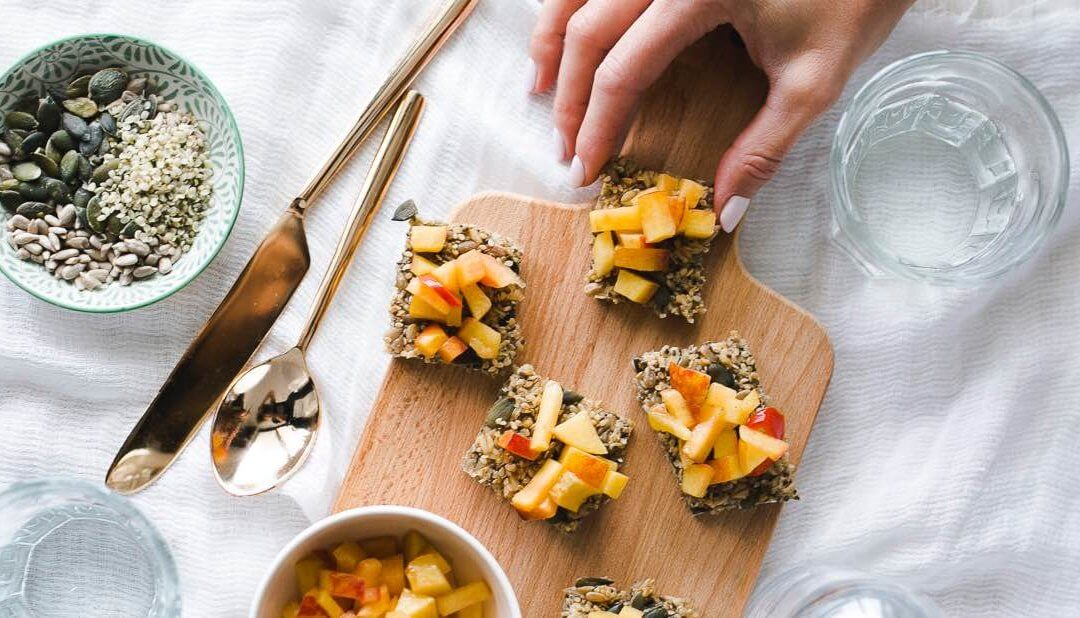 Seed Crackers with Peach Dip