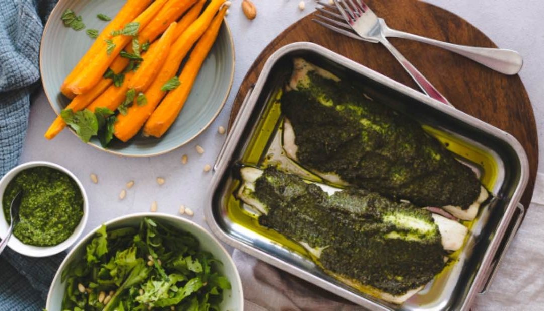 Pesto crusted white fish with maple carrots
